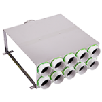 10 Port Manifold Horizontal Box Acoustically Lined Stainless Steel with 150mm Round Input