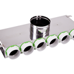 6 Port Manifold Box Acoustically Lined Stainless Steel with 150mm Round Input